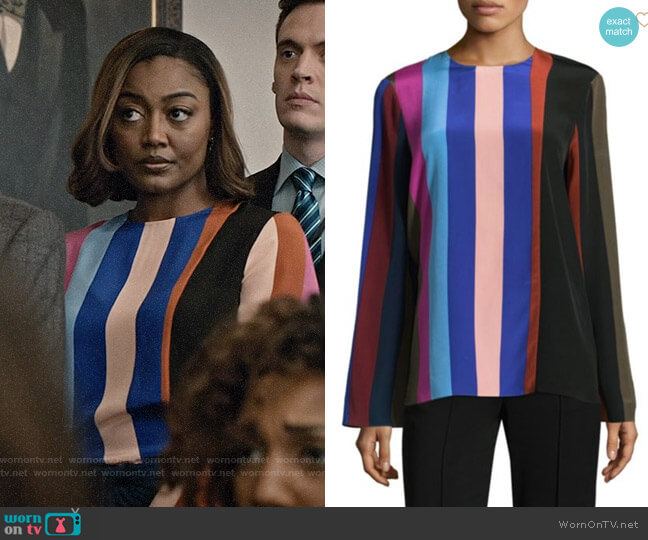 Diane von Furstenberg Striped Silk Blouse worn by Daisy Grant (Patina Miller) on Madam Secretary