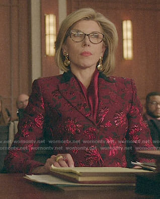 Diane's red floral blazer on The Good Fight