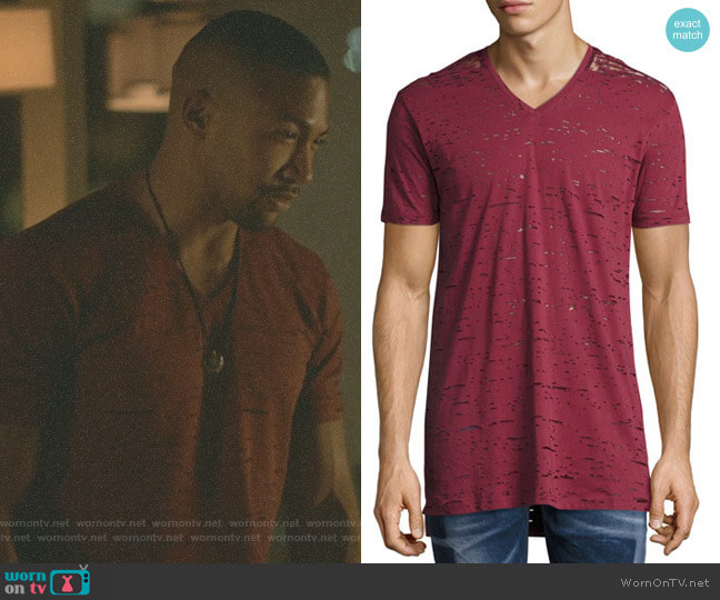 Garment-Wash Burnout V-Neck T-Shirt by Diesel worn by Marcel Gerard (Charles Michael Davis) on The Originals