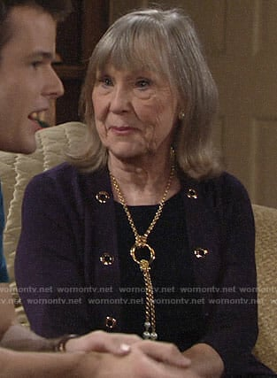 Dina's metal eyelet cardigan and pearl necklace on The Young and the Restless