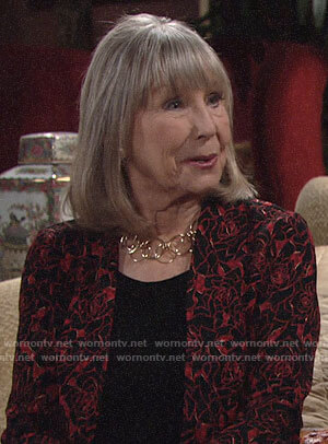 Dina's red rose print jacket on The Young and the Restless