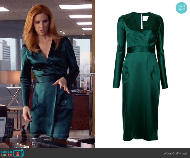 wornontv donna s green wrap dress on suits sarah rafferty clothes and wardrobe from tv dion lee utility longsleeved dress 1 670 buy aw17 online fast global delivery price