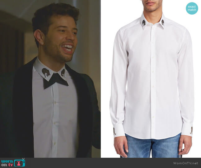 Embroidered Collar Cotton Button-Down Shirt by Dolce & Gabbana worn by Sam Flores (Rafael de la Fuente) on Dynasty