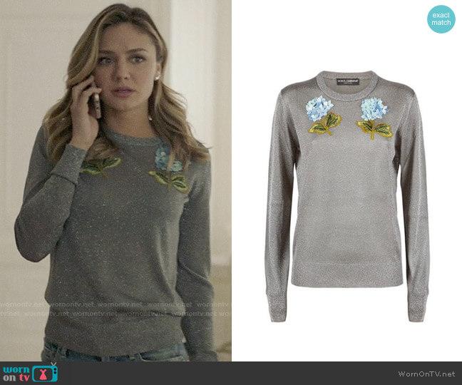 Dolce & Gabbana Hydrangea Applique Sweater worn by Megan Morrison (Christine Evangelista) on The Arrangement