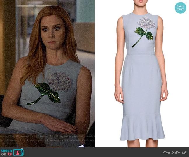 Dolce & Gabbana Hydrangea Embellished Flounce-Hem Dress worn by Donna Paulsen (Sarah Rafferty) on Suits