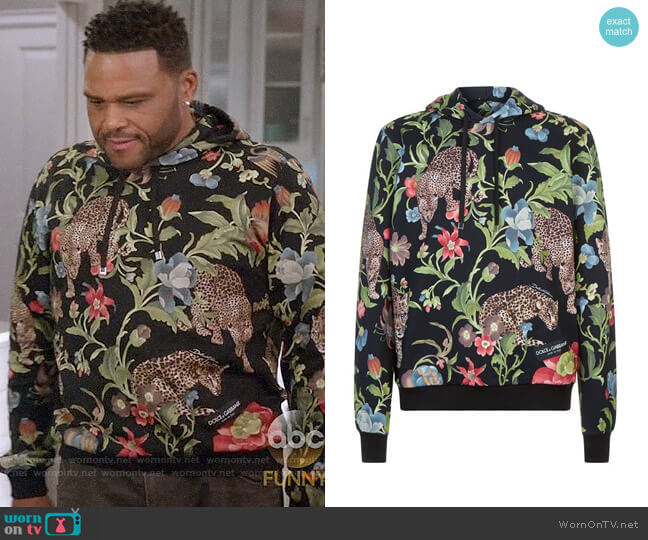 Dolce & Gabbana Jungle Print Hoodie worn by Anthony Anderson on Blackish