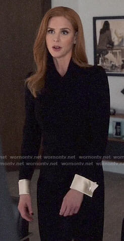 Donna's black dress with contrasting cuffs on Suits