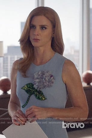 Donna's blue dress with embellished flower on Suits