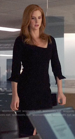 Donna's black dress with asymmetric neckline on Suits