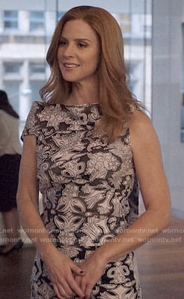 Donna's black and white printed top and skirt on Suits