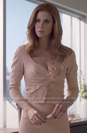 Donna's blush bow front dress on Suits