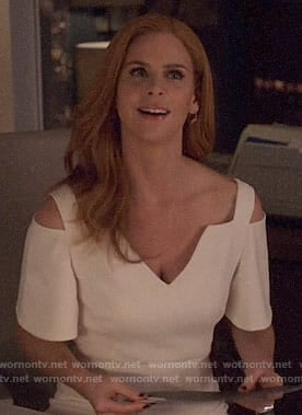 Donna's white cold shoulder dress on Suits