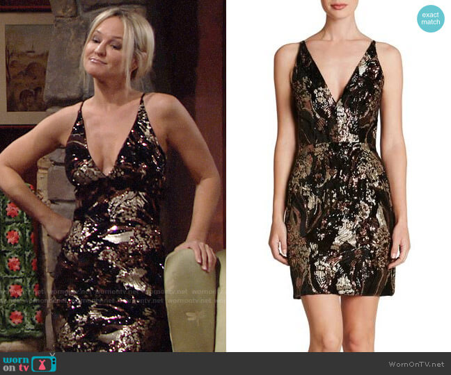 Dress the Population Jordyn Dress worn by Sharon Collins (Sharon Case) on The Young & the Restless
