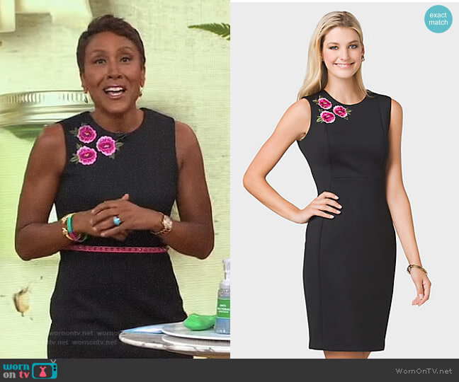 Floral Embroidered Sheath Dress by Dressbarn worn by Robin Roberts on Good Morning America