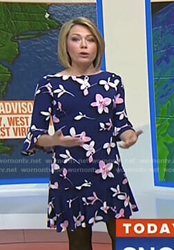 Dylan's navy floral bell sleeve dress on Today