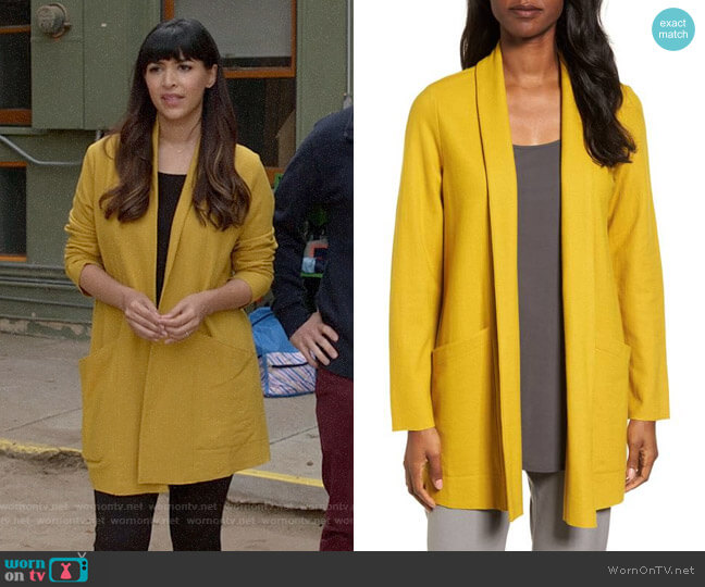 Eileen Fisher Boiled Wool Jersey Long Jacket worn by Hannah Simone on New Girl