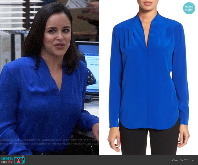 Elie Tahari Blue Bea Top worn by Melissa Fumero on Brooklyn Nine-Nine