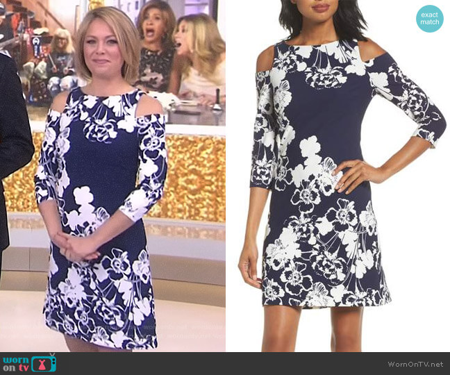 Cold Shoulder Shift Dress by Eliza J worn by Dylan Dreyer on Today