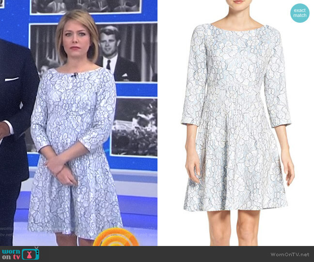 Embroidered Floral Fit & Flare Dress by Eliza J worn by Dylan Dreyer on Today