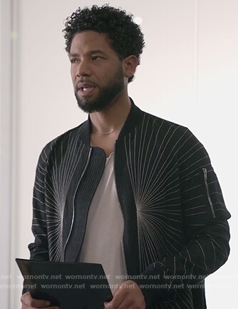 Jamal's black embroidered detailed jacket on Empire