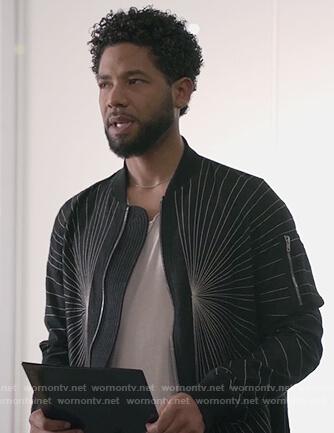 Jamal's black embroidered detailed jacket on Empire