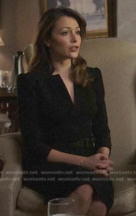Emily's black v-neck dress on Designated Survivor
