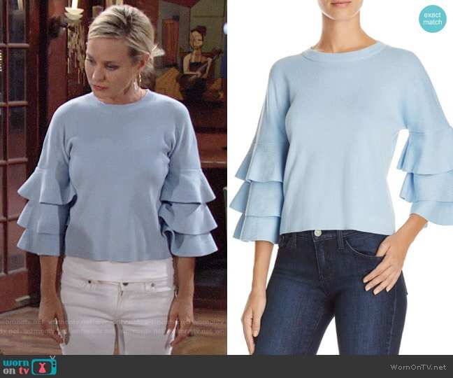 Endless Rose Tiered Sleeve Sweater worn by Sharon Collins (Sharon Case) on The Young & the Restless