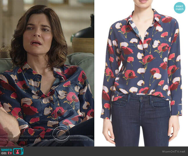Slim Signature Floral Blouse in Peacoat by Equipment worn by Heather Hughes (Betsy Brandt) on Life in Pieces