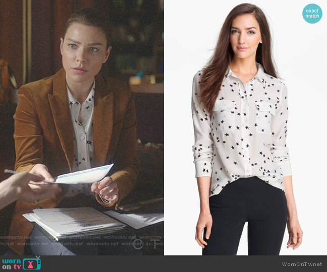 Starry Night Slim Signature Shirt by Equipment worn by Chloe Decker (Lauren German) on Lucifer