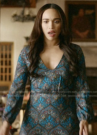 Erica's blue printed long sleeve dress on Last Man on Earth
