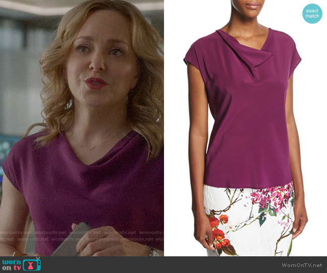 Escada Cowl-Neck Cap-Sleeve Silk Blouse worn by Geneva Carr on Bull