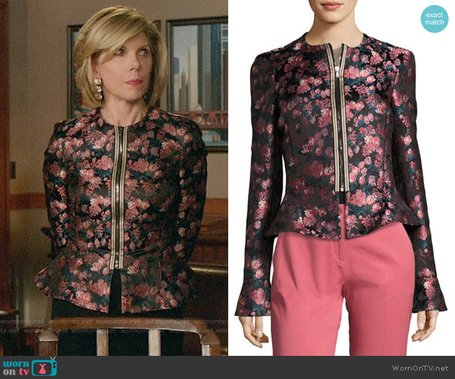 Etro Floral Jacquard Fencing Jacket worn by Diane Lockhart (Christine Baranski) on The Good Fight