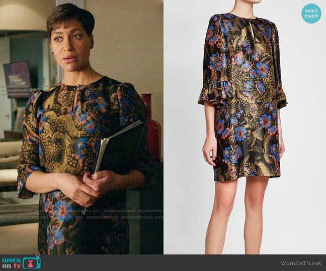 Etro Printed Dress with Silk and Metallic Thread worn by Lucca Quinn (Cush Jumbo) on The Good Fight