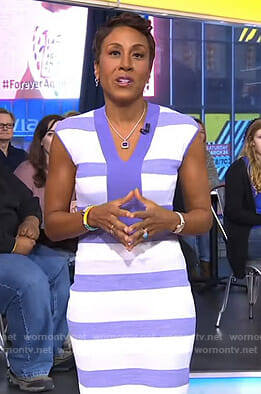 Robin's purple striped v-neck dress on Good Morning America