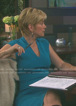 Eve's blue v-neck ribbed knit dress on Days of our Lives