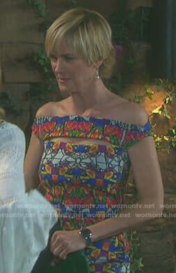 Eve's kaleidoscope print cutout dress on Days of our Lives