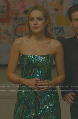 Fallon's sequin strapless dress on Dynasty