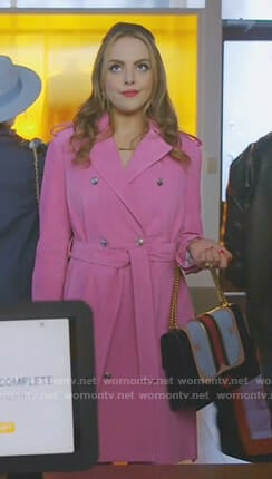 Fallon's pink suede trench coat on Dynasty