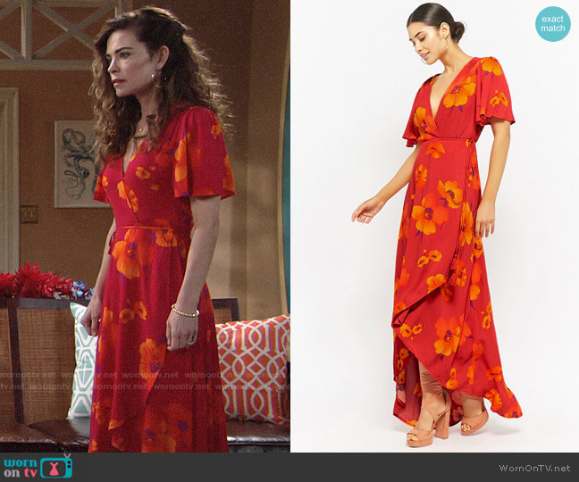 Forever 21 Plunging Floral Wrap Dress worn by Amelia Heinle on The Young & the Restless