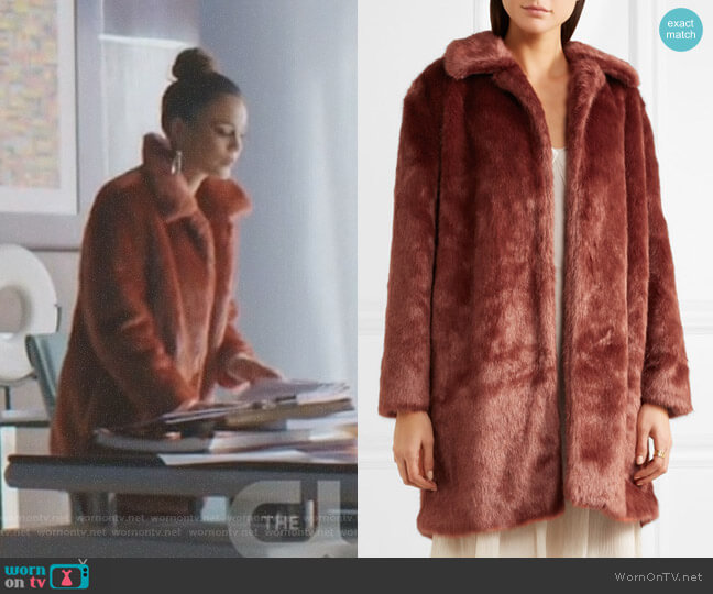 Faux Fur Coat by Frame worn by Nathalie Kelley on Dynasty