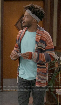 Franco's striped cardigan on Superior Donuts