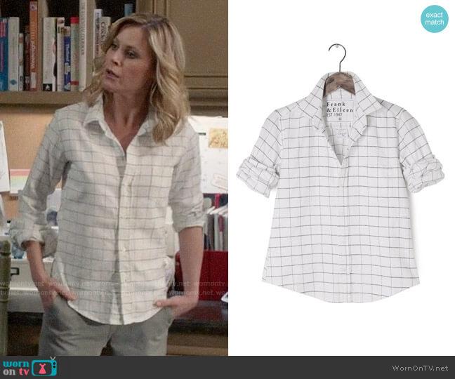 Frank & Eileen Barry Italian Flannel Windowpane Shirt worn by Claire Dunphy (Julie Bowen) on Modern Family