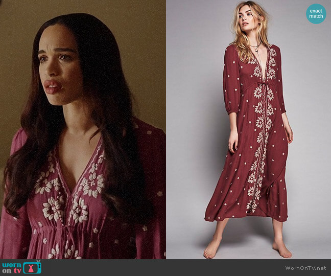 Free People Embroidered Fable Dress worn by Erica Dundee (Cleopatra Coleman) on Last Man On Earth