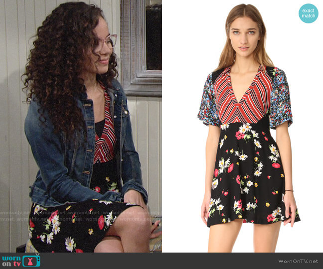 Free People Mix It Up Printed Mini Dress worn by Lexie Stevenson on The Young & the Restless
