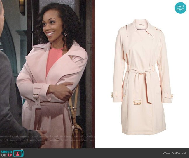 French Connection Flowy Belted Trench Coat worn by Mishael Morgan on The Young & the Restless