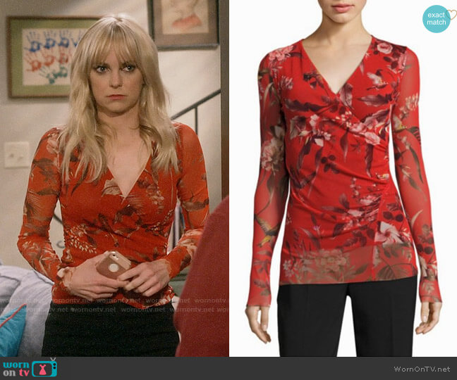 Fuzzi Humming Bird Print Surplice Top worn by Anna Faris on Mom