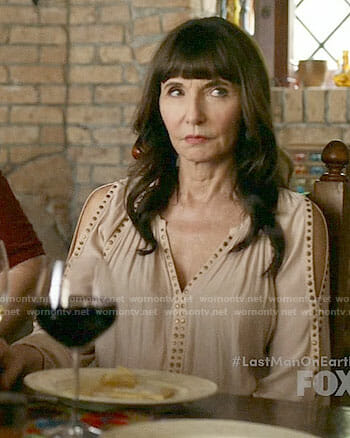 Gail's studded cold-shoulder top on Last Man on Earth