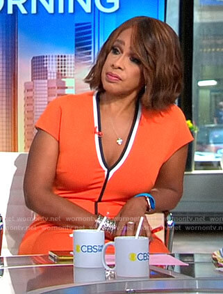 Gayle's orange v-neck dress with black trim on CBS This Morning