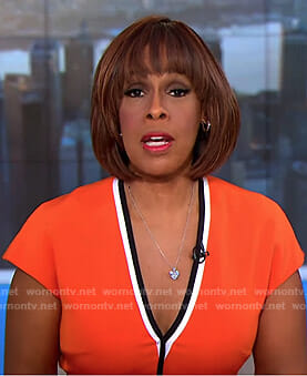 Gayle's orange v-neck dress on CBS This Morning