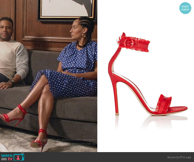 Gianvito Rossi Fringed Caribe Satin Ankle-Strap Sandals worn by Tracee Ellis Ross on Blackish